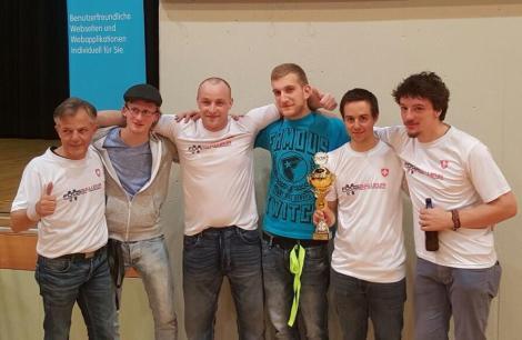 Equipe Foosballeur, 2ème place. de gauche à droite. Egon Kuonen, Arnaud Grossenbacher, Yan Badan, Tino Calabro, Frédéric Hadorn, Tristan Devaud